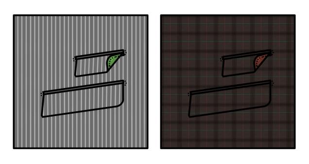 Travaux pratiques de poches côtés, en flanelle grise rayée à la craie, doublure de satin vert fougère puis prince de galles marron à carreaux fenêtres, doublure rouge brique.