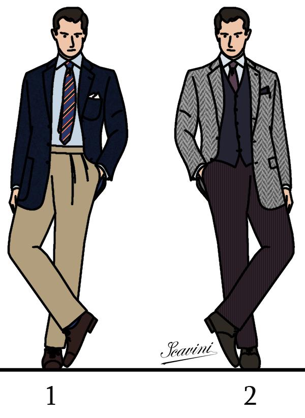 1 – Sur une proposition de H   blazer droit (avec ou sans boutons dorés  dirons-nous), pantalon chino, chemise bleu clair, cravate club, pochette  blanche, ... eda30afefed