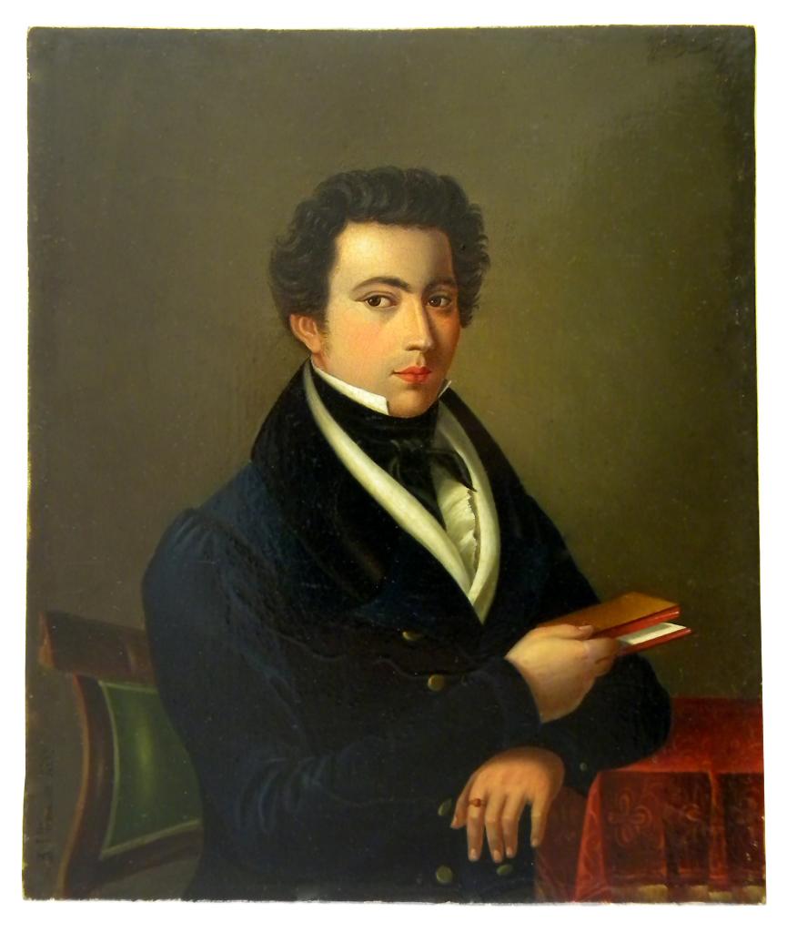 stiff collar Portrait d'un jeune aristocrate par Ullmann 1832