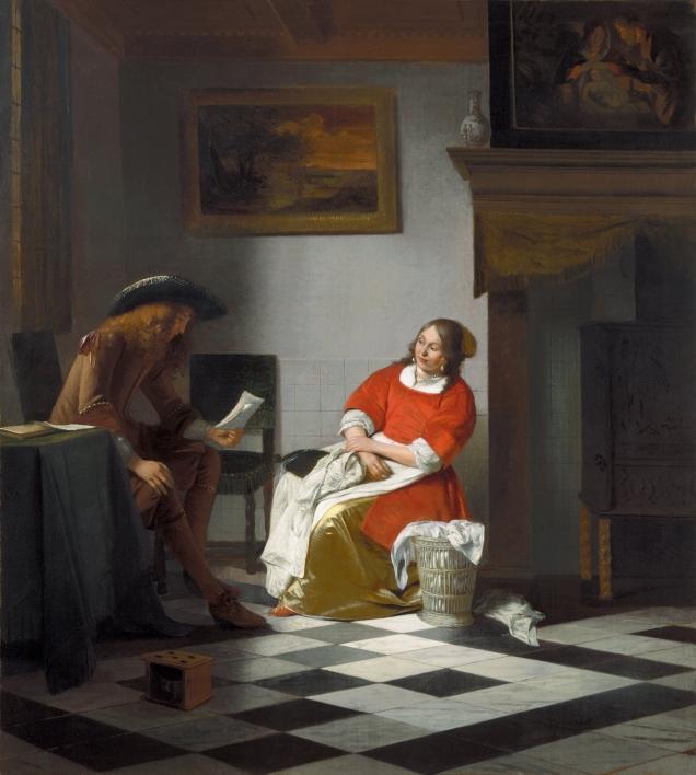Homme lisant la lettre à une femme, Pieter de Hooch, 1674-1676