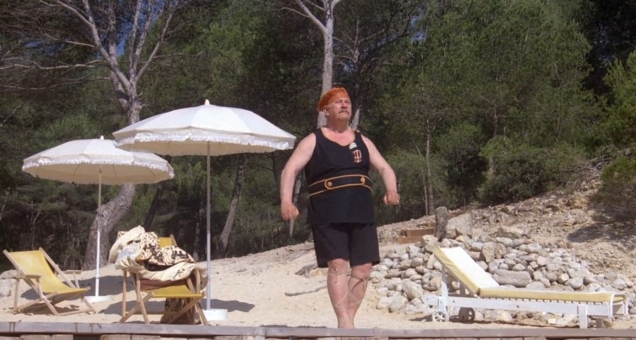 Peter Ustinov as Hercule Poirot swimming suit2