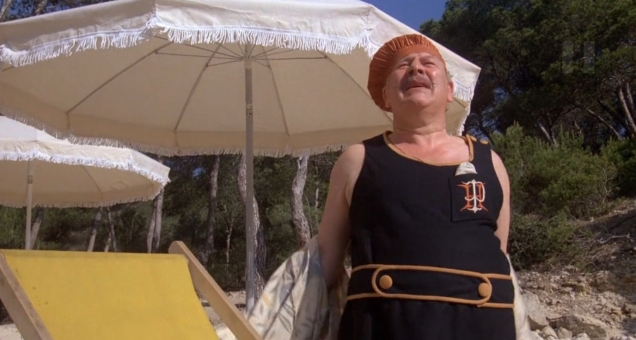 Peter Ustinov as Hercule Poirot swimming suit3